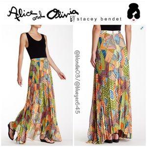 "Alice & Olivia ""Shannon"" pleated maxi skirt 0"